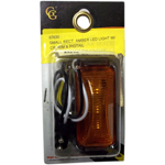 87630 - SMALL RECT. AMBER LED LIGHT W/ CR. RIM & PIGTAIL