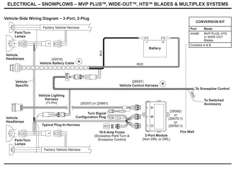 western vehicle side wiring diagram 3port 2 plug