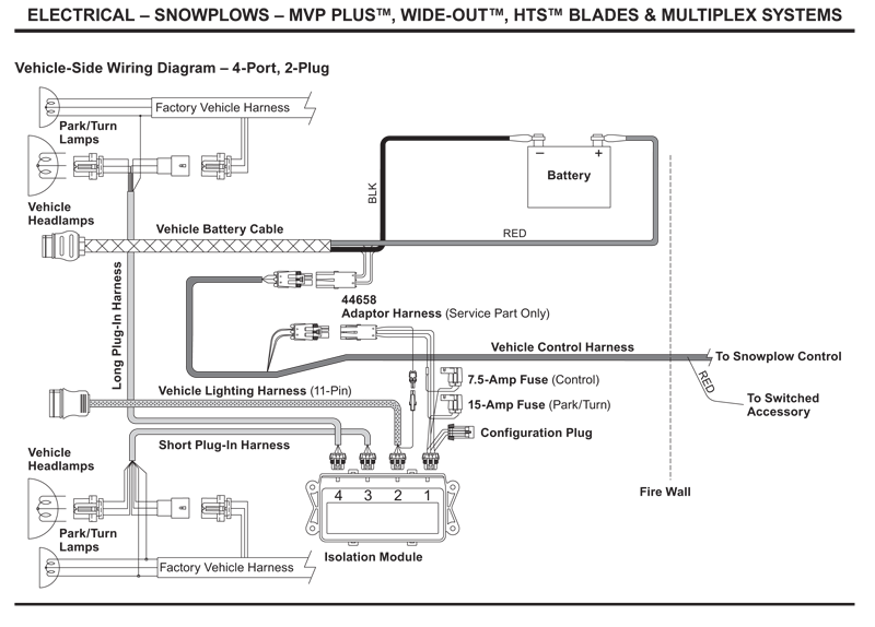 western_vehicle_side_wiring_diagram_4_port_2_plug western vehicle side wiring diagram 4 port, 2 plug western 4 port isolation module wiring diagram at webbmarketing.co